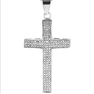 """Iced Out Cross 18k silver Plated Necklace 24"""""""